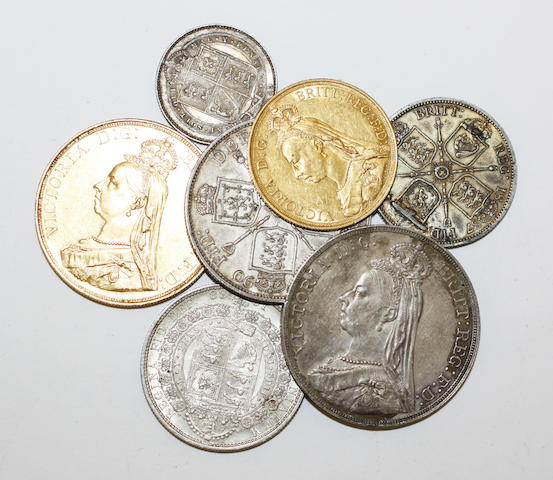 Victoria (Jubilee head): £5, £2, crown, double florin, half crown, florin and shilling,  all VF-EF.