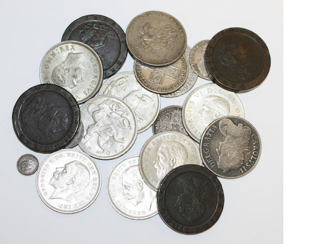 Crowns: 1935 x 5, 1937 x 2,  all EF: George II half crown, 1745, F; Charles II crowns 1668 & 1673, both FAIR, and other 18th and 19th century coins.