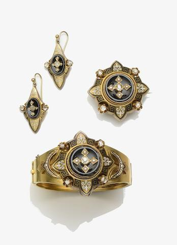 A Victorian diamond, half pearl, onyx and enamel jewellery suite (3)