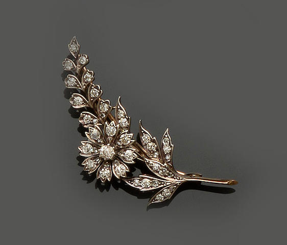 A late Victorian diamond floral spray brooch