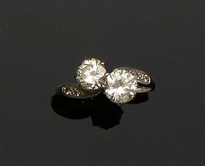 A diamond two stone ring
