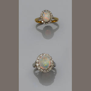 Two opal and diamond cluster rings (2)