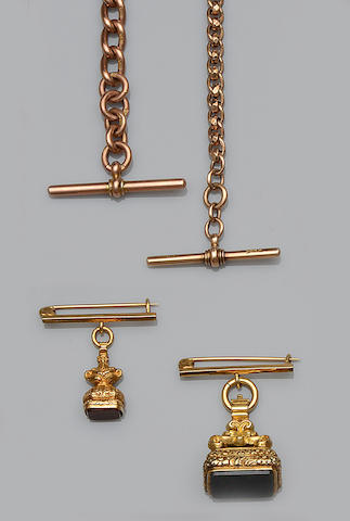 Two Albert chains and two fob pendants (4)