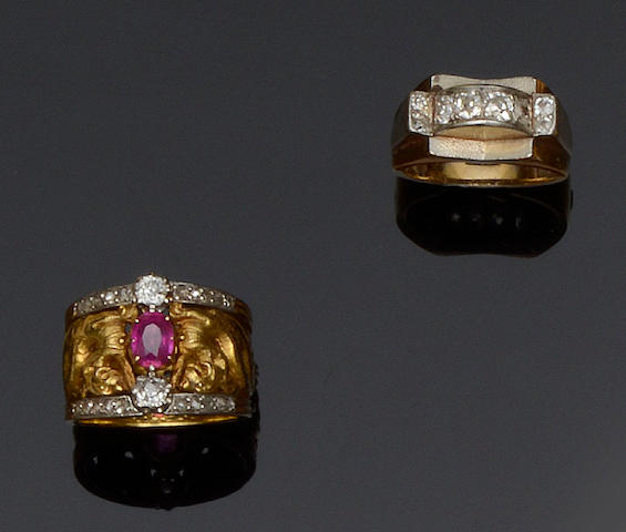 A French ruby and diamond ring and an Odeonesque diamond ring (2)
