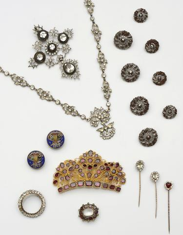 A 19th century gilt garnet brooch and further jewellery