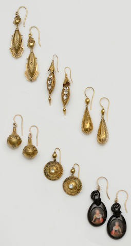 Six pairs of Victorian earrings (6)