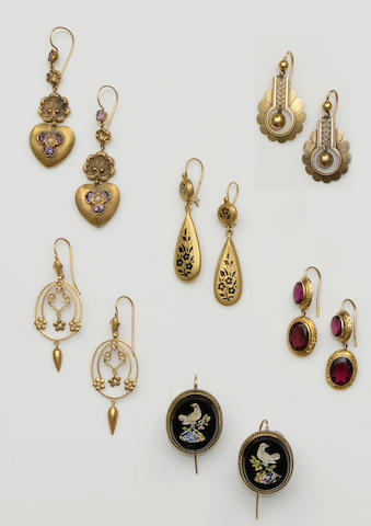Eleven pairs of Victorian earrings