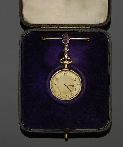 An 18ct gold, enamel and diamond open face fob watch