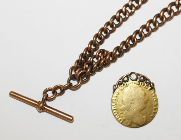 a 9ct gold graduated curb link watch chain, with 'T' bar and two swivel clasps, 54gms, with a George III gold guinea, worn, attached, scroll mount.