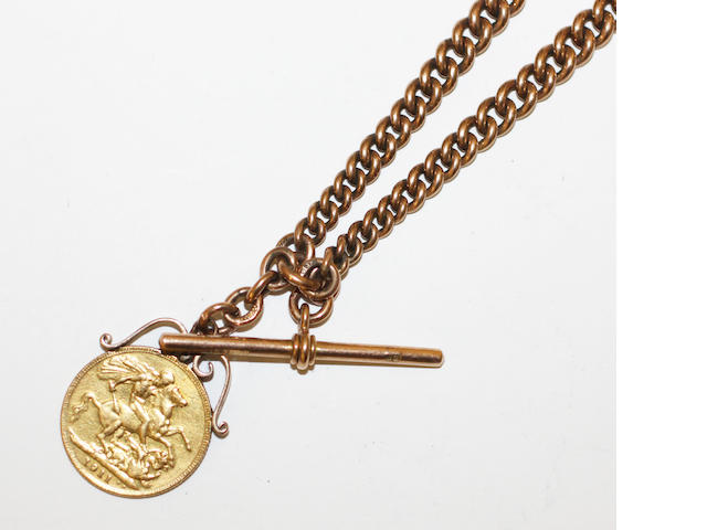 A 9ct gold graduated curb link watch chain, with 'T' bar and two swivel clasps, 45gms, with a George V sovereign 1911, attached, scroll mount.