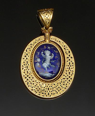 An enamel pendant