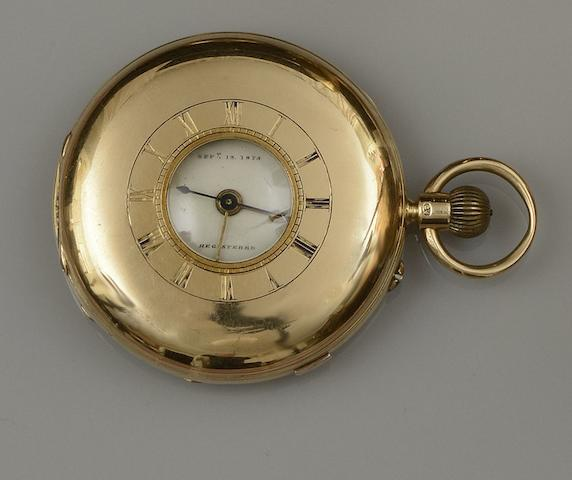 John Lecomber, Liverpool: A Victorian 18ct gold half hunter chronograph pocket watch