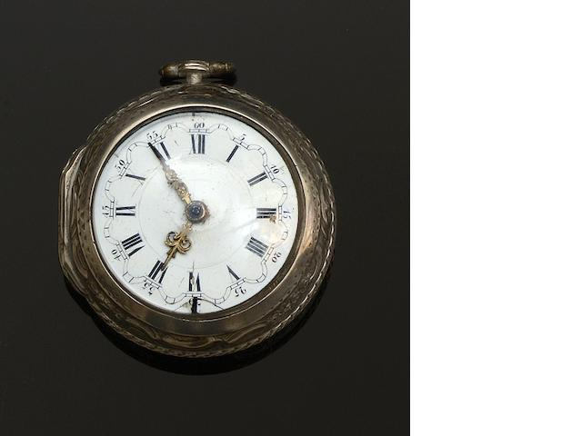 An 18th century silver repoussé cased verge pocket watchBy Tarts of London,