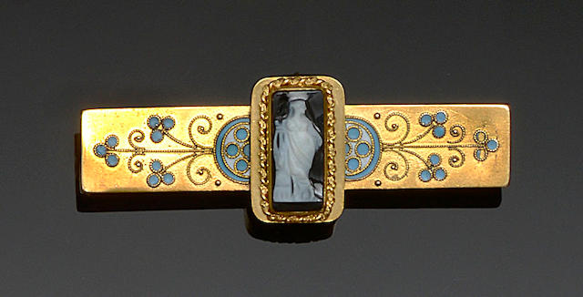 A hardstone cameo and enamel brooch