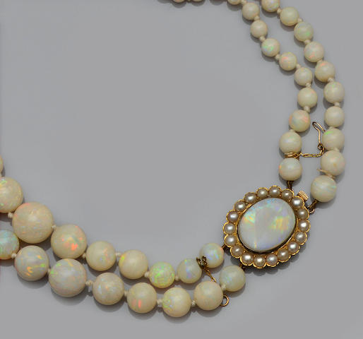 A two row opal bead necklace