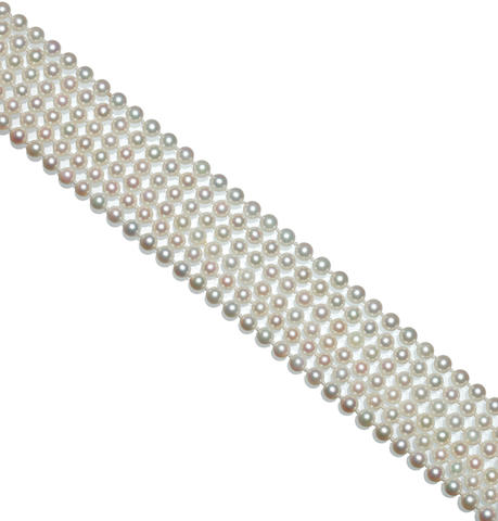 A cultured pearl opera length necklace