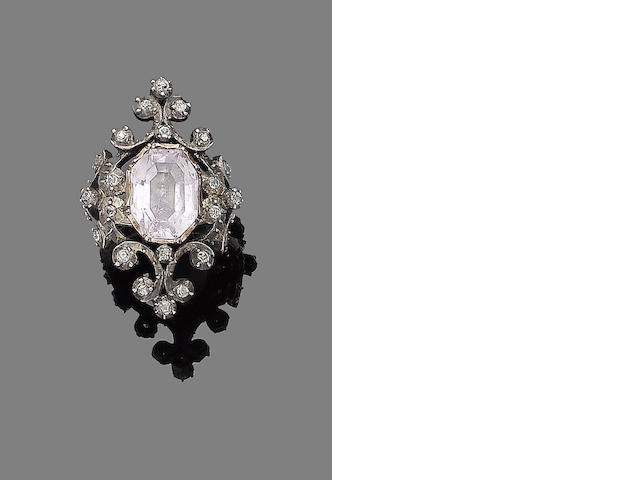 A late 18th century pink topaz and diamond ring