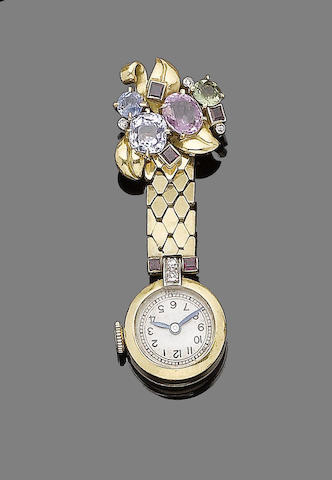 A gem-set fob watch,
