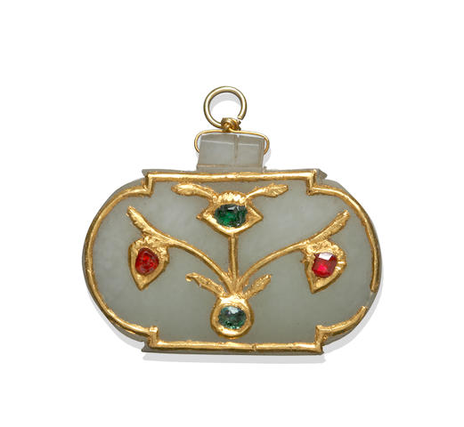 A Mughal-style gem-set jade pendant
