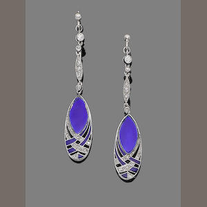 A pair of enamel and diamond pendent earrings, by Boucheron,