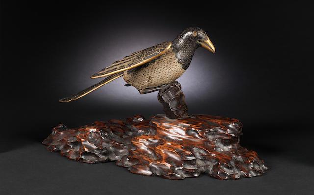 A cloisonné enamel figure of a magpie Qing Dynasty
