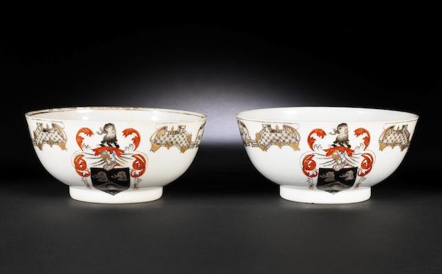 A pair of en-grisaille and gold-decorated armorial bowls Qianlong, circa 1745
