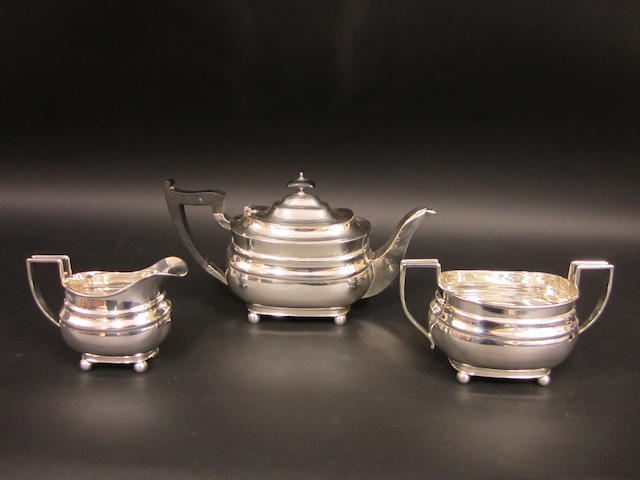 A silver three piece tea service Chester 1936  (3)