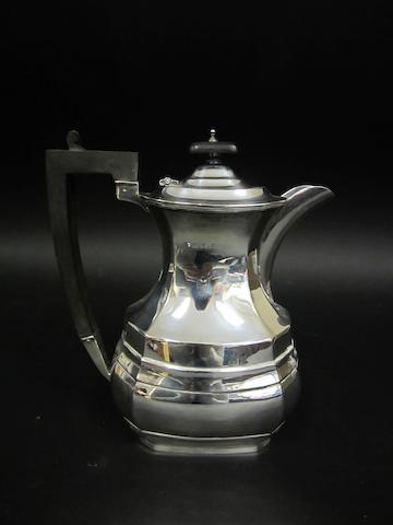 A silver hot water jug Birmingham 1938