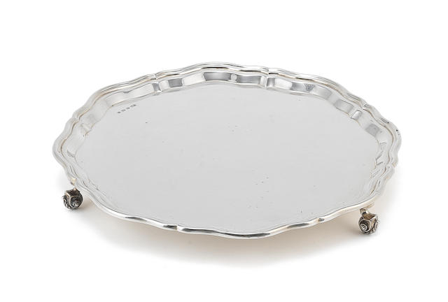 A silver shaped-circular salver by E Viner, Sheffield 1932