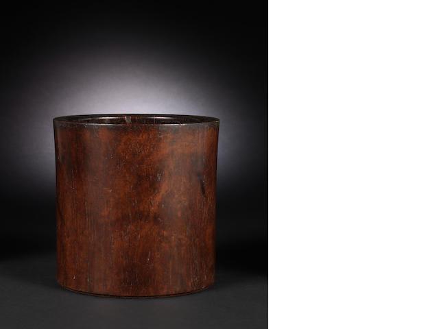 A Chinese wood brushpot, bitong