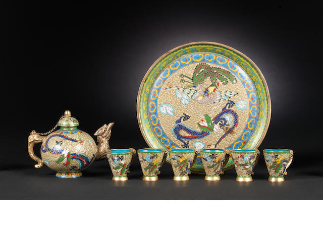 A cloisonné enamel part-service, probably for wine