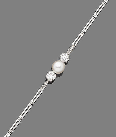 A pearl and diamond bracelet
