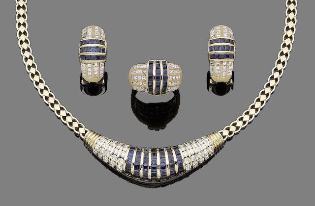 A sapphire and diamond necklace, ring and earring suite (3)