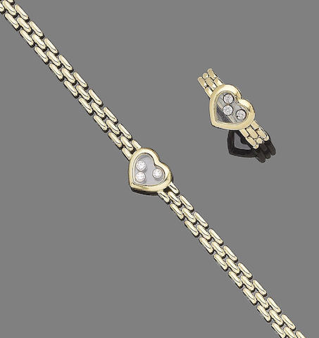 A 'Happy Diamond' bracelet and ring suite, by Chopard (2)