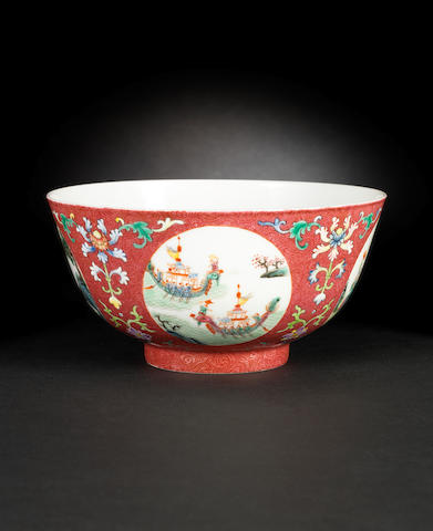 A famille rose, medallion bowl Daoguang six-character mark
