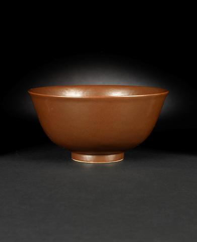 A café-au-lait monochrome bowl Qianlong six-character seal mark