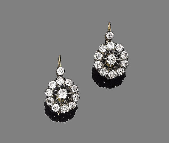 A pair of mid 19th century diamond earrings