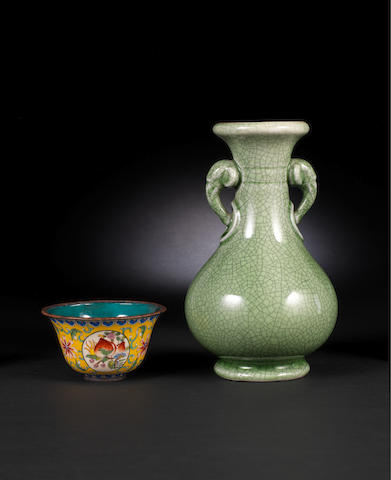 A celadon-glazed, pear-shaped vase, hu