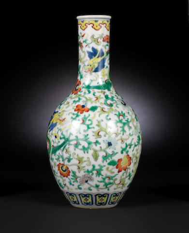 A doucai oviform vase Qianlong six-character seal mark