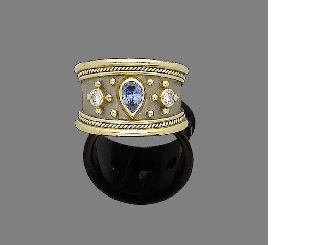 A sapphire and diamond dress ring, by Elisabeth Gage,