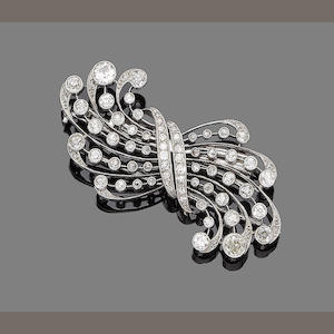A diamond double-clip spray brooch,