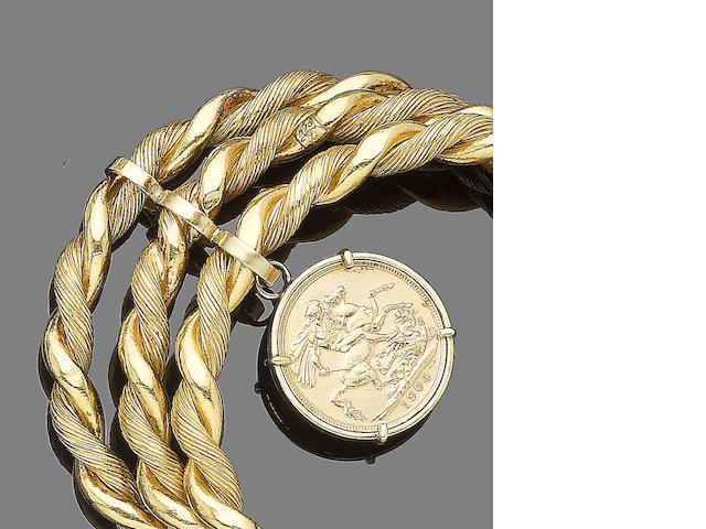 A gold coin bangle