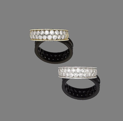 A pair of diamond-set rings, (2)