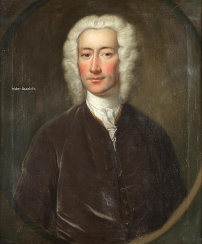English School, 18th Century Portrait of Walter Radcliffe, half-length, in a brown velvet coat, with