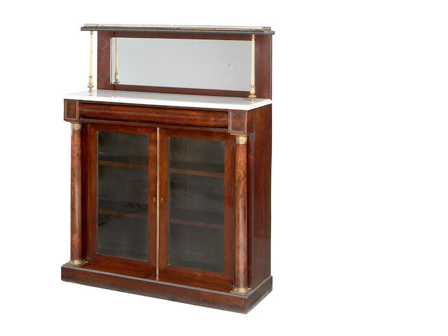 A Regency brass mounted rosewood chiffonier