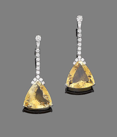 A pair of citrine and diamond earrings,
