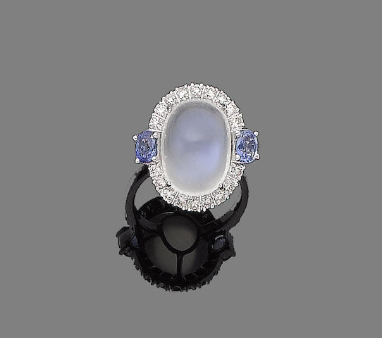 A moonstone, sapphire and diamond ring,
