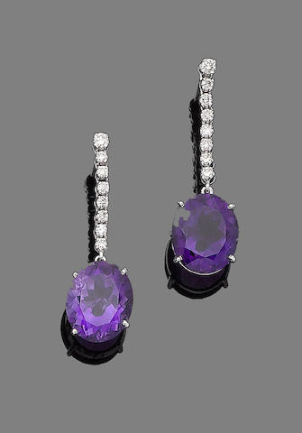 A pair of amethyst and diamond earrings,