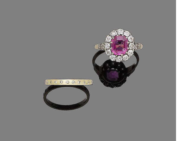 A spinel and diamond cluster ring and a diamond eternity ring (2)