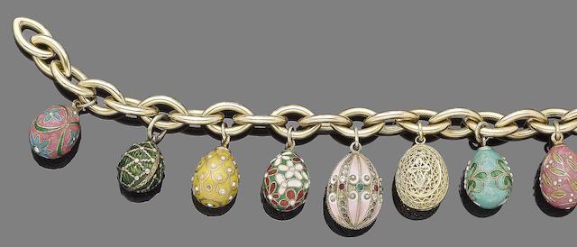 An enamel egg pendant bracelet